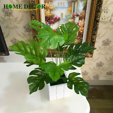 12pcs Simulated Ancient Monstera Branch Palm Turtle Leaf Leaves Home Party Decor