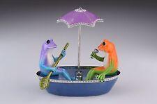 Frog on boat LIMITED EDITION Trinket Box by Keren Kopal Swarovski Crystal