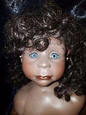 "1988 AFRICAN AMERICAN BLUE EYED GIRL BY ROT RAUT SCHROTT DOLL 25"" T"
