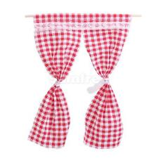 1:12 Red Plaid Checked Curtain for Dolls House Miniature Room Window Decor