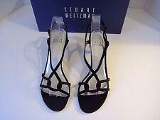 Stuart Weitzman Bridal & Evening Collection Reversal Shoes Black Peau Heels 8 N