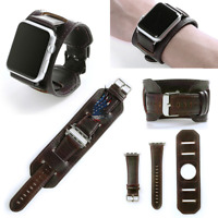 Retro Genuine Leather Cuff Bracelet Watch Strap For Apple Watch 38 42 40mm 44mm