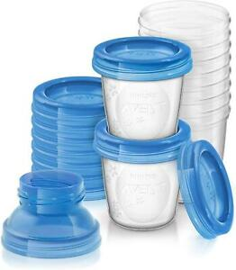 Avent Aufbewahrungssystem Muttermilch Becher Deckel Adapter 10 x 180 ml