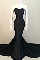 Black Mermaid Satin Evening Formal Dresses Strapless Prom Pageant Party Gowns
