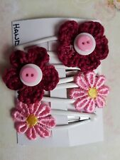 2 x SETS OF HAIR SLEEPIES PINK DAISY & WINE RED FLOWER ON WHITE ENAMEL CLIP