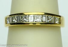 1.25 ct Princess Baguette Diamond 14K Yellow Gold Anniversary Wedding Ring Band