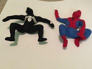 """Vintage 2007 Marvel Spider-man Spider-man 3 Venom action plush Kellytoy 12"""" OBO"""
