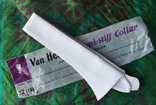 "British Van Heusen semi-stiff shirt collar WHITE Unused vintage 15 1/2"" style 52"