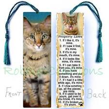 BENGAL Cat Large BOOKMARK TASSEL RULES Attitude Laws Art Book CARD Brown Spotted
