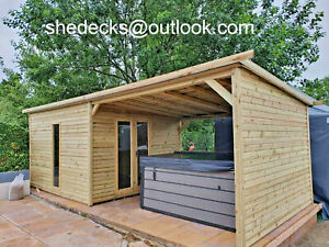 PENT HOT TUB COMBI SHED SUMMER HOUSE OFFICE GYM MAN CAVE DELIVERY 8-12 WEEKS