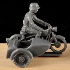 Marx WWII German Motorcycle Combination - 1990  gray color plastic- low stock