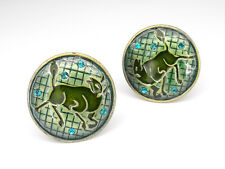 Bull Round Circle Earrings Clip-on Clip on Crystals Emerald Enamel Green New 599