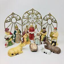 11 Piece Nativity Scene Set + Golden Wire Screen - Caffco