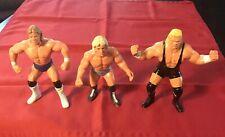 3 Original 1990 WCW Galoob WWF Action Figures Ric Flair, Lex Luger & Sid Vici
