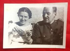Vintage 1937 Black White Photo Soldier in Uniform Woman Grapes Warsaw Poland