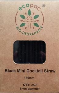 250 X Mini Cocktail PAPER STRAWS 100% biodegradable environmentally eco friendly
