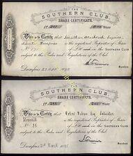 1892-95 Dumfries, sur Club, dos acciones de £ 10-cada uno