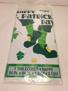 """St. Patricks Day~ Shamrock Plastic Table Cover ~Table Decoration 54"""" x 84"""""""
