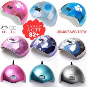 72W LED UV Gel Polish Dryer Lamp Gel Acrylic Curing Light Professional Nail Tool