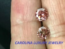 .25 CARAT SI1 GENUINE PINK DIAMOND STUD EARRINGS IN 14K  WHITE GOLD