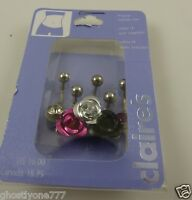 Rose pink black crystal belly button ring, piercing, body jewelry 5 piece set