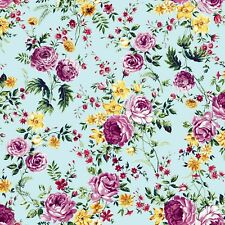 A Large Floral Pattern Printed 100% Polyester Wool Dobby Fabric Style P-1030-504