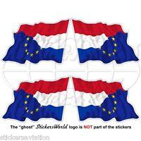 "EUROPE-NETHERLANDS Flying Flag European Union-Dutch 50mm (2"") Stickers Decals x4"