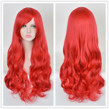 Red Long Wavy Curly MERMAID hair batman Poison Ivy Cosplay party Women wigs Wig
