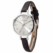 YVES CAMANI NONETTE Womens Wrist Watch Stainless Steel Silver Leather Strap New