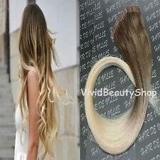 Ombre Remy Tape In Skin Weft Human Hair Extensions Dark Bleach Blonde 18/613