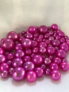 Magenta Vase Filler Pearls, Floating Pearl Centerpiece, Table Confetti, No Hole