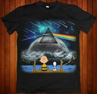 Peanuts Charlie Brown & Snoopy Pink Floyd Dark Side Moon Black Shirt