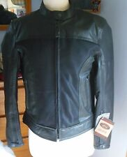 River Road Women's Pecos Leather Mesh Motorcycle Jacket Size M