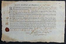 CONNAISSEMENT MARITIME XVII° siècle