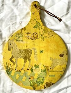 Vintage Painted Cheese Cutting Board Yellow with Whimsical Farm Animals Kitsch