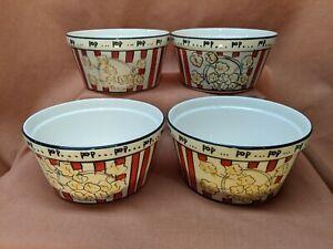 "Set of 4 Ceramic Popcorn Bowls Hand Painted Everybody Loves Popcorn 7"" Diameter"