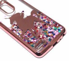 For LG K30 / K10 2018/Premier Pro - Rose Gold Unicorn Glitter Hearts Liquid Case