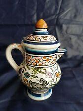 Pot lait décoré main style Moustiers  Service café thé chocolat Portugal Pichet