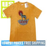 Levi's Strauss Men's NWT Wolf 1873 Yellow Logo Print Design T Shirt LARGE
