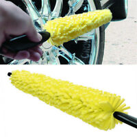 Car Wheel Tire Rim Cleaning Sponge Brush Yellow Car Washing Tool Plastic Handle