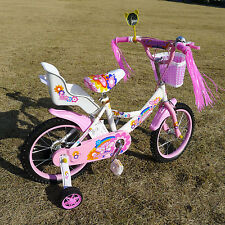 "New 16"" Children Girls Kids Bike Bicycle With Training Wheels Steel Frame"