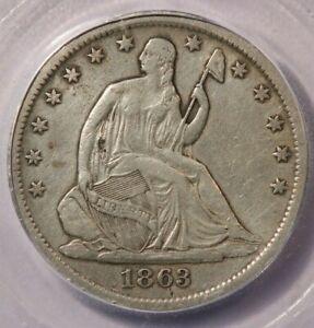 1863-S 1863 Seated Liberty Half Dollar ICG VF20 Details Looks 35