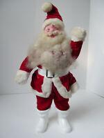 "Vtg Lg Christmas Santa Claus Figure Plastic Face Red Velvet Clothes Doll 15"" C2"