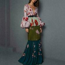 Womens Floral Printed V-neck Long Maxi Dresses Long Balloon Sleeve Dress S-XL HW
