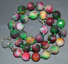 Faceted 12mm Brazil Multi-Color Jade Gemstone Round Beads Necklaces 16-55'' AAA