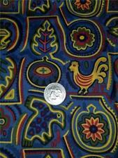 1/2 Yard Cotton Quilt Craft Mask Fabric Folk Designs Birds Leaves Blue Red Gold