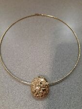 Gold Tone Thin Cable Wire Necklace & Bezel Set - preowned