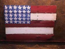 19166 Rustic American Flag / Hand Painted on Barn Wood  /  Country Folk Art