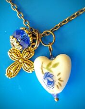CROSS NECKLACE  FRIEND MOM BIRTHDAY HEART LOVE CHRISTIAN BLUE GOLD VINTAGE NEW