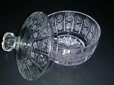 Antique Czech/Bohemian ETCHED CRYSTAL Sugar Bowl, Candy Dish - Hobstars, Fans